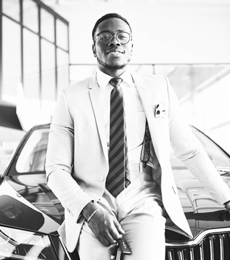 Man applying for Personal Vehicle Finance for luxury car